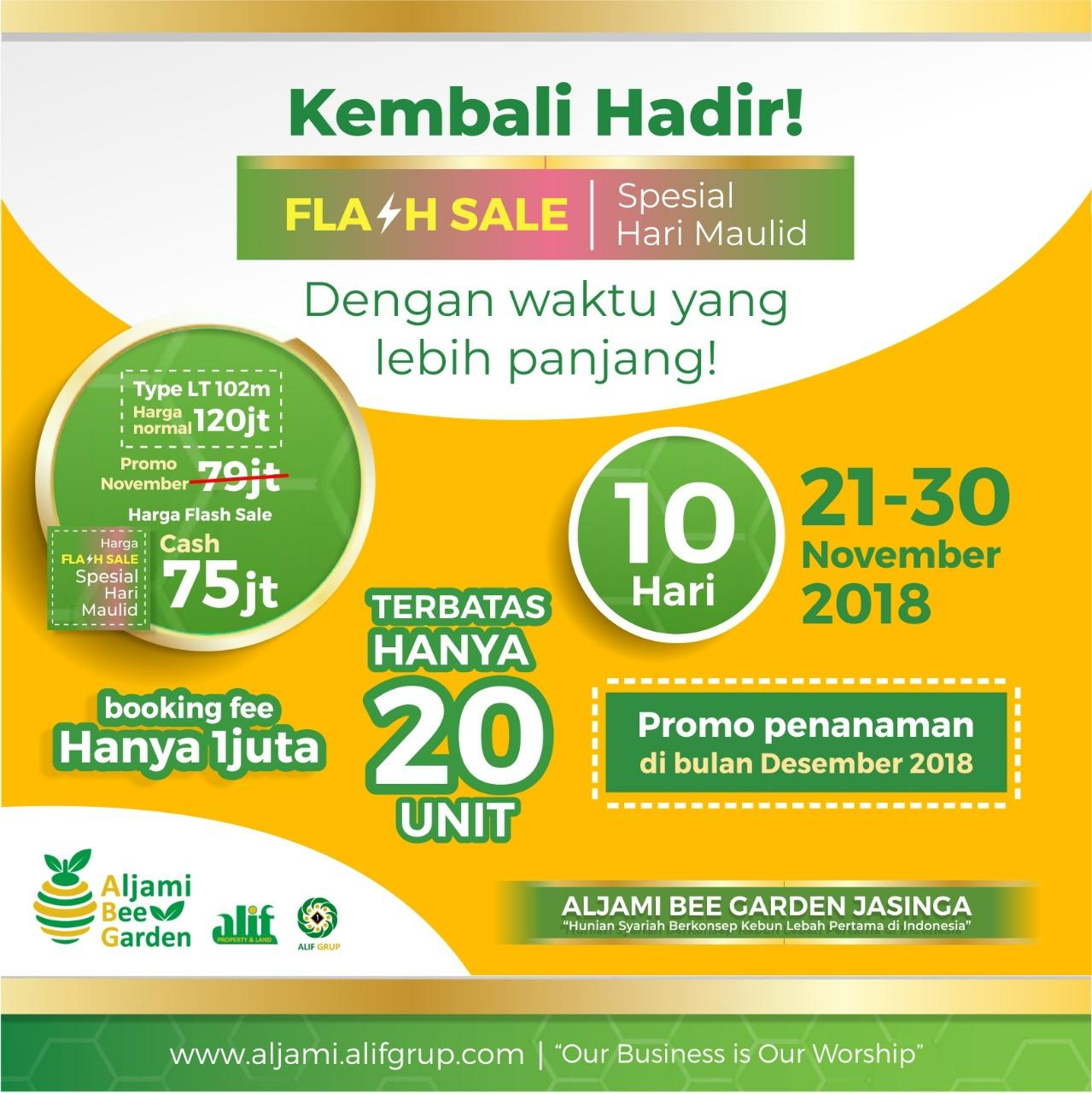 kavling aljami bee garden flash sale